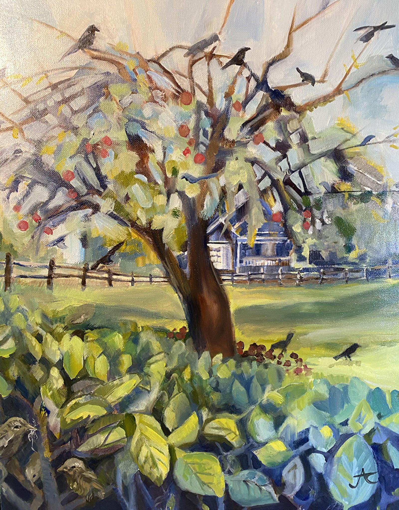 "Jennifer Cook-Chrysos Chrysos Designs Artworks, ""Apple Tree"", oil on canvas, 16 x 20, framed"