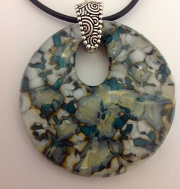 Ann Mackiernan Fused Glass Disc Pendant - 1