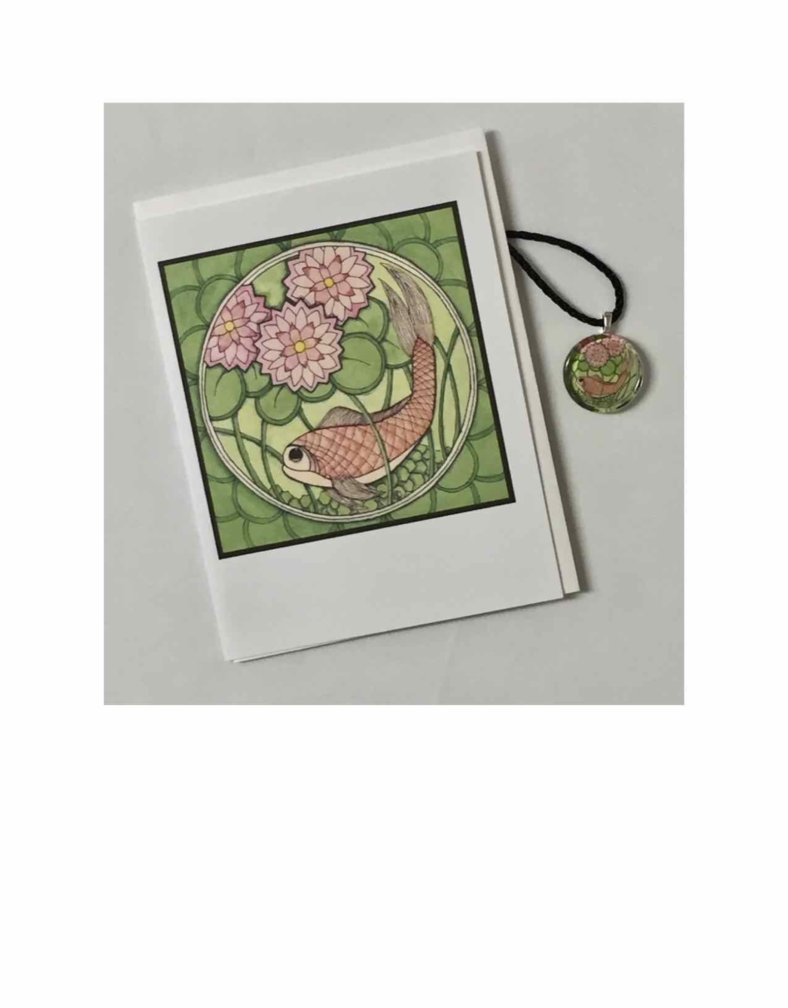 Kelly Casperson Koi with Water Lilies pendant & card set