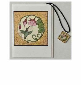 Kelly Casperson Hummingbird with Fuchsias pendant & card set