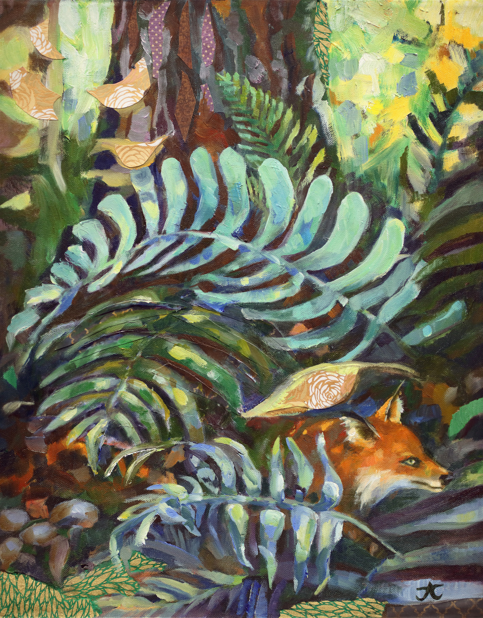 "Jennifer Cook-Chrysos Chrysos Designs Artworks, ""Fox and Ferns"", mixed media, 16 x 20, framed"