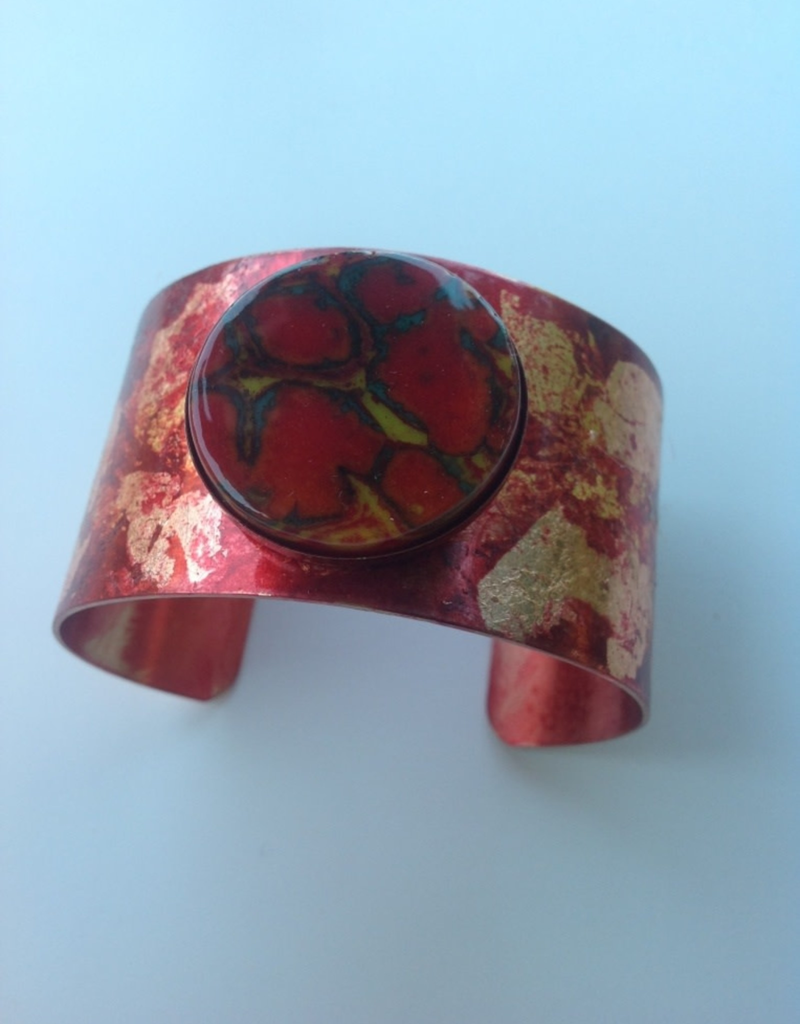 Ann Mackiernan Cuff with Gold & Copper Leaf and Glass Cabochon - Red