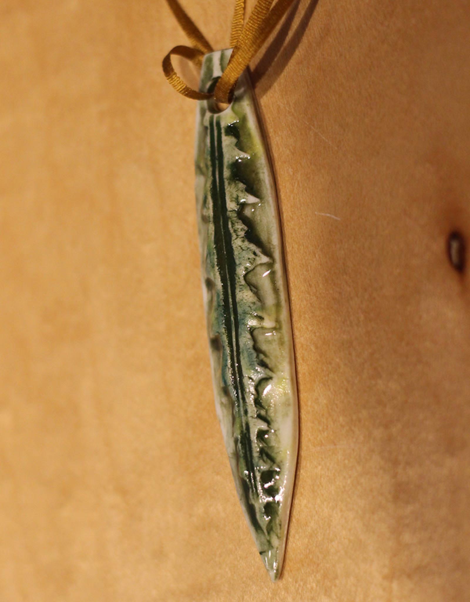 Pandora Patterson Green Narrow Leaf Pendant