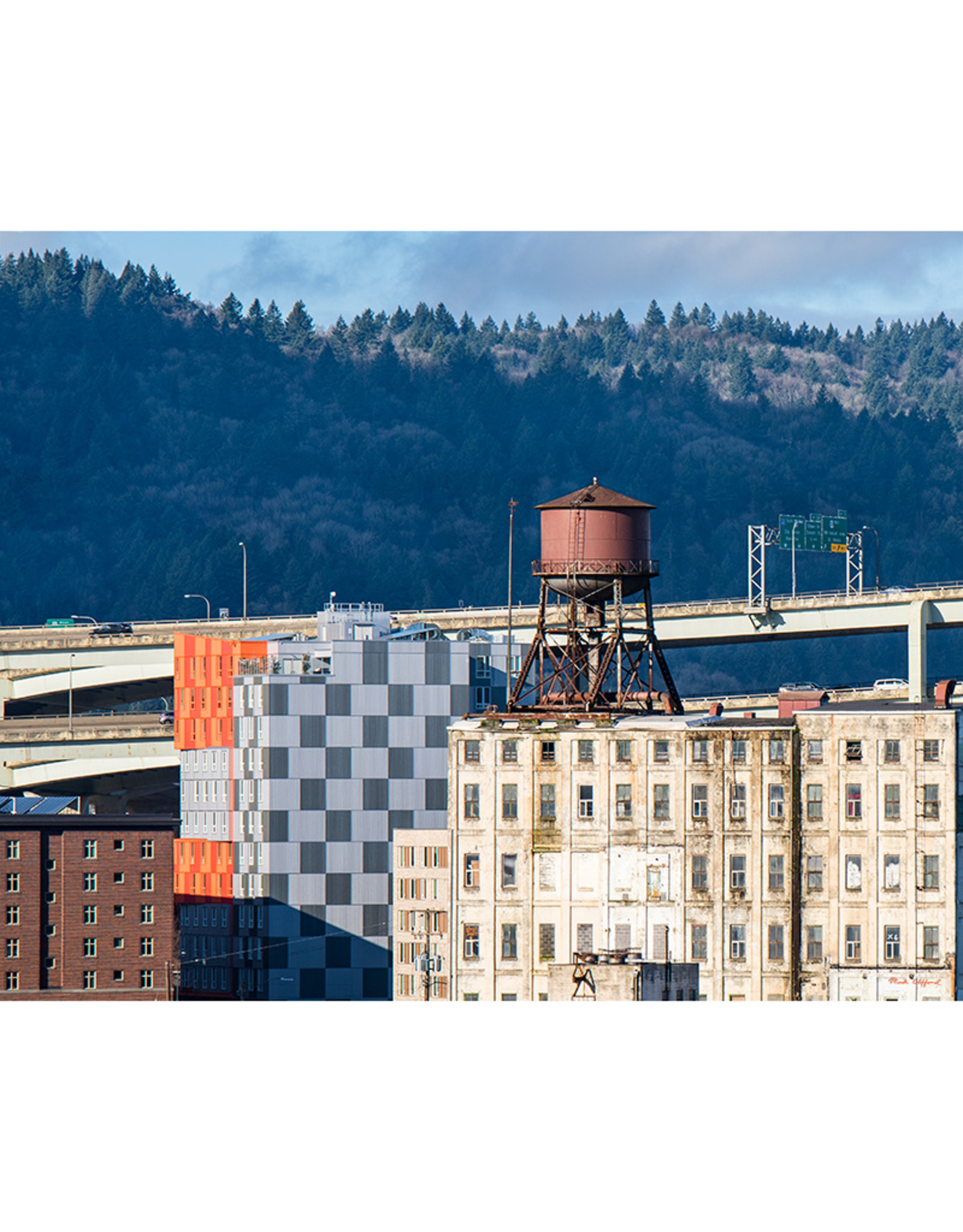 """Mark Clifford Brown Water Tower, Portland Oregon. 20"""" by 16"""" framed photographic print."""