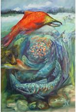 "Jennifer Cook-Chrysos Chrysos Designs Artworks,  ""Salmon Feed the World"", Oil on Canvas, 24 x 36, Framed"