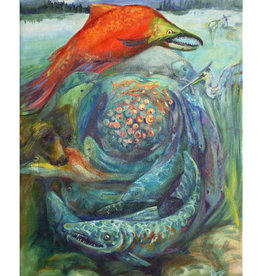 "Jennifer Cook-Chrysos Chrysos Designs Artworks,  ""Salmon Feed the World"", Oil on Canvas, 24 x 36, Framed"