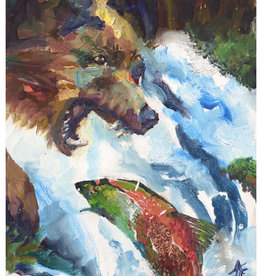 "Jennifer Cook-Chrysos Chrysos Designs Artworks, ""Fishing Bear"", Oil on Panel, 11 x 14"