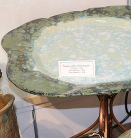 Pandora Patterson Celadon and Olive Platter Birdbath Dish