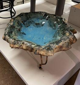 Pandora Patterson Weathered Blue Bowl Birdbath Dish