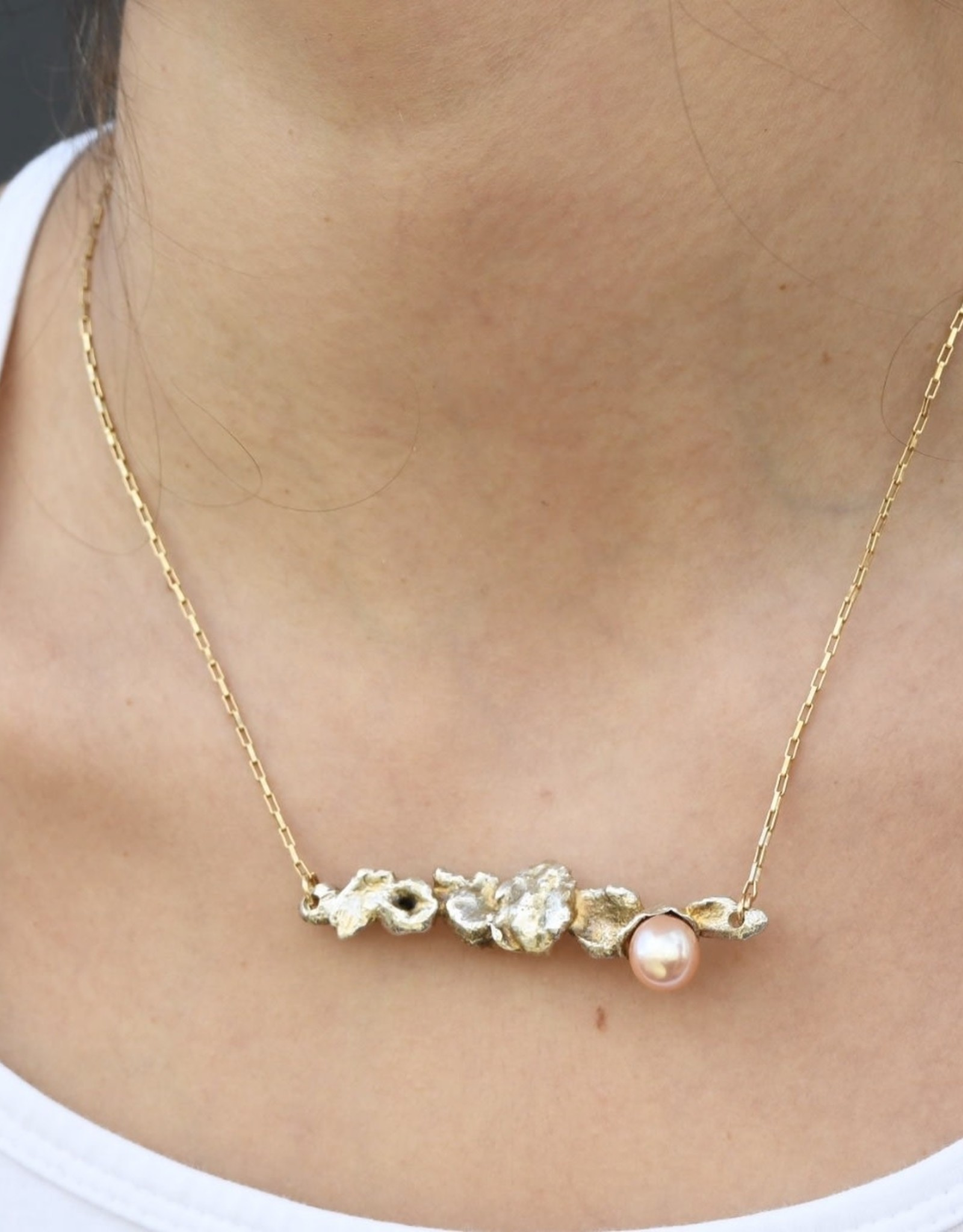 Becca Paisley Stabach BP Freshwater Pearl, Sterling S, Gold Fill chain