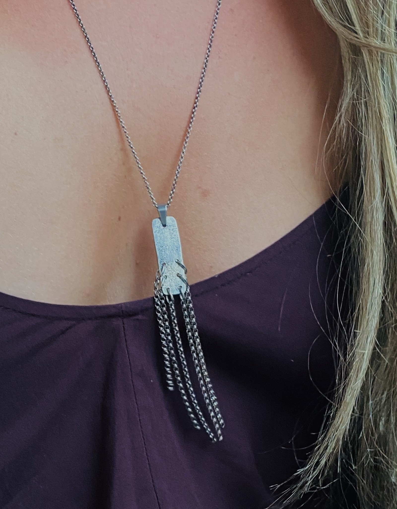 BP Distressed Sterling Silver Rectangle Necklace
