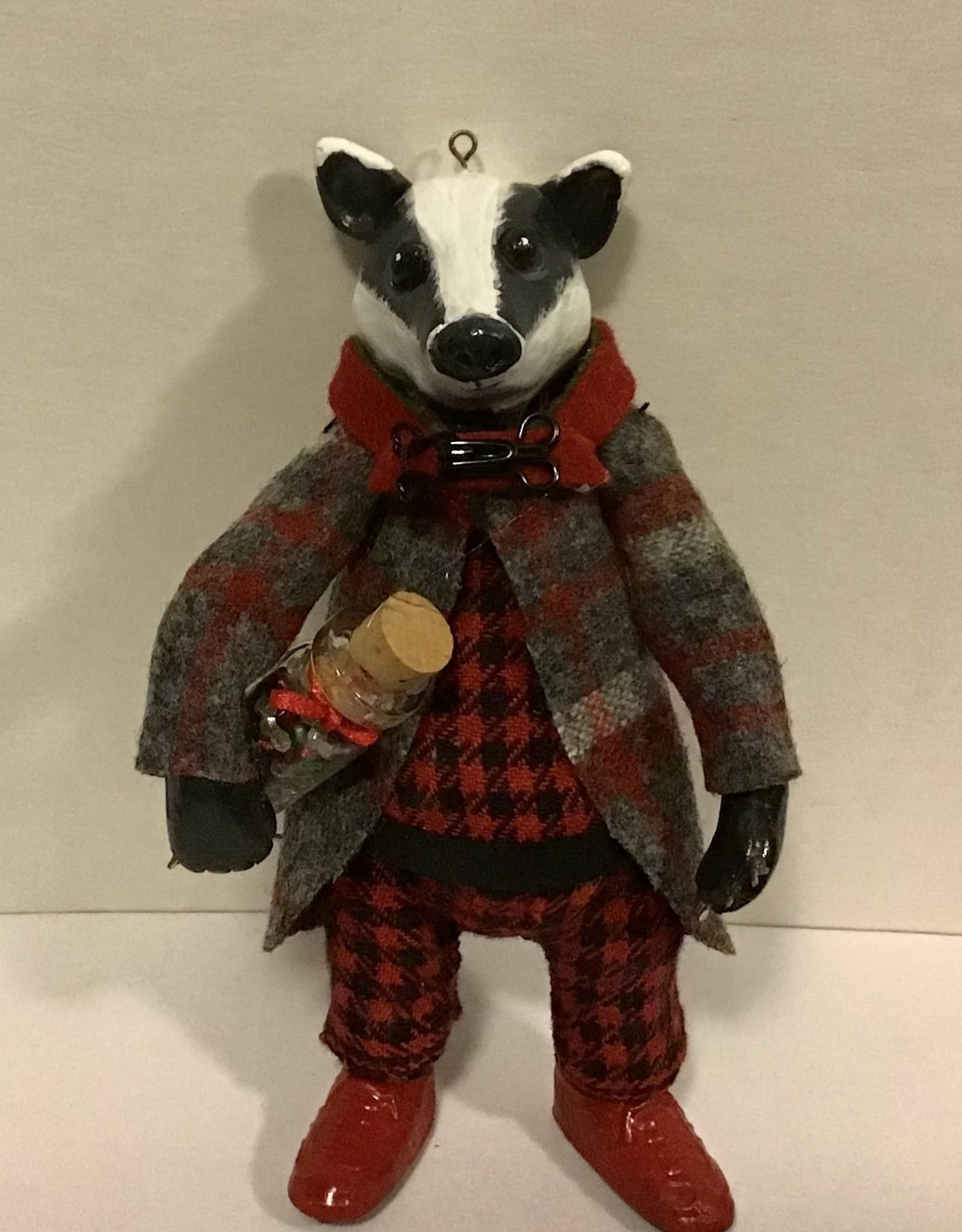 Karen Friedstrom Christmas-Colton badger ornament