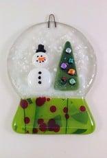 Ann Mackiernan Snowglobe Fused Glass Ornament