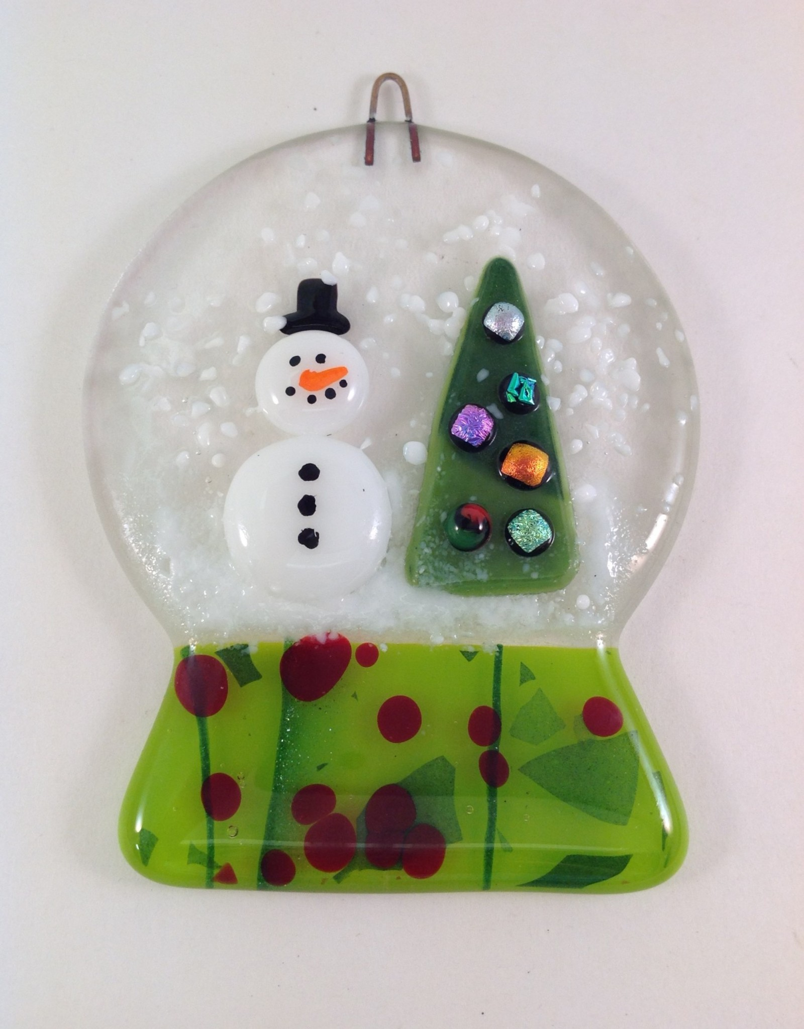 Ann Mackiernan Snowglobe Fused Glass Ornament