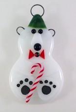 Ann Mackiernan Polar Bear Fused Glass Ornament