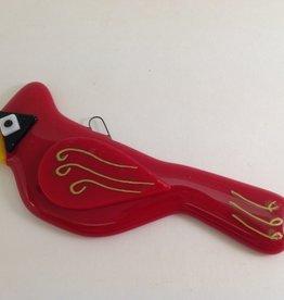 Ann Mackiernan Cardinal Fused Glass Ornament