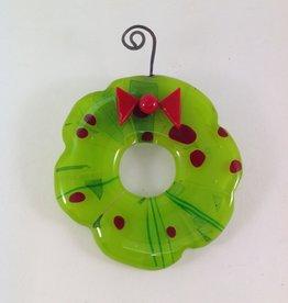 Ann Mackiernan Wreath Fused Glass Ornament