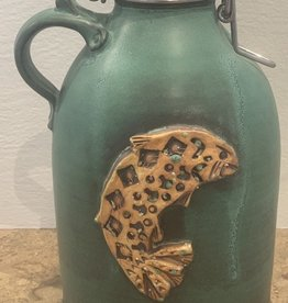 David Dahlquist Dahlquist Pottery/ Growler/Trout/Weathered Bronze
