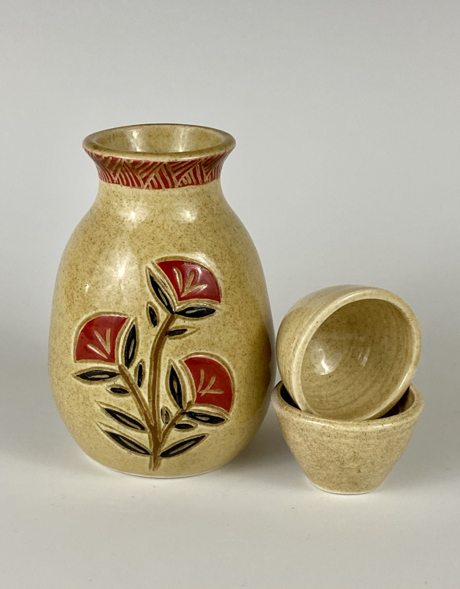 Anshula Tayal Amaati Sake bottle and 2 cups