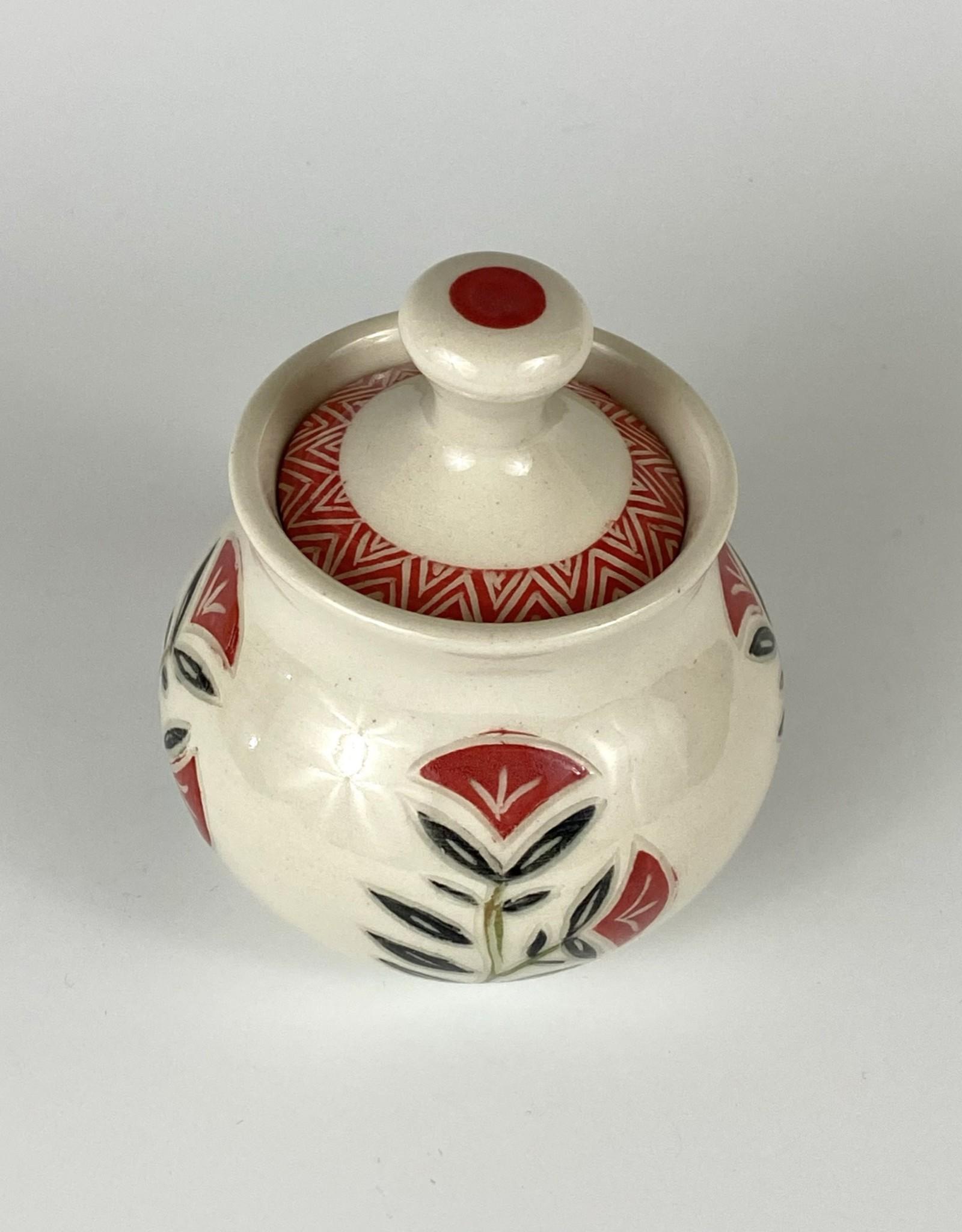 Anshula Tayal Amaati Lidded red flower Jar