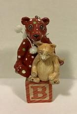 Karen Friedstrom Christmas-Gibson cat and bear ornament