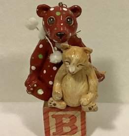 Karen Friedstrom Christmas-Gibson cat and bear ornament