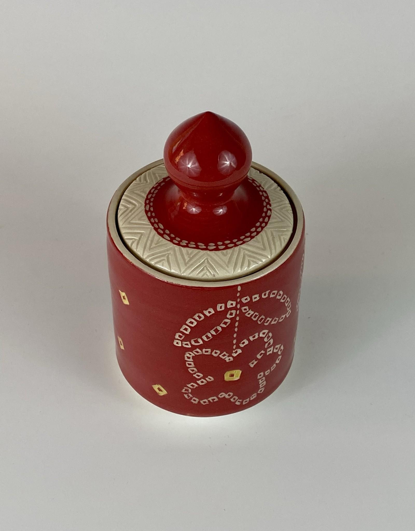 Anshula Tayal Amaati Lidded jar Red Bandhani