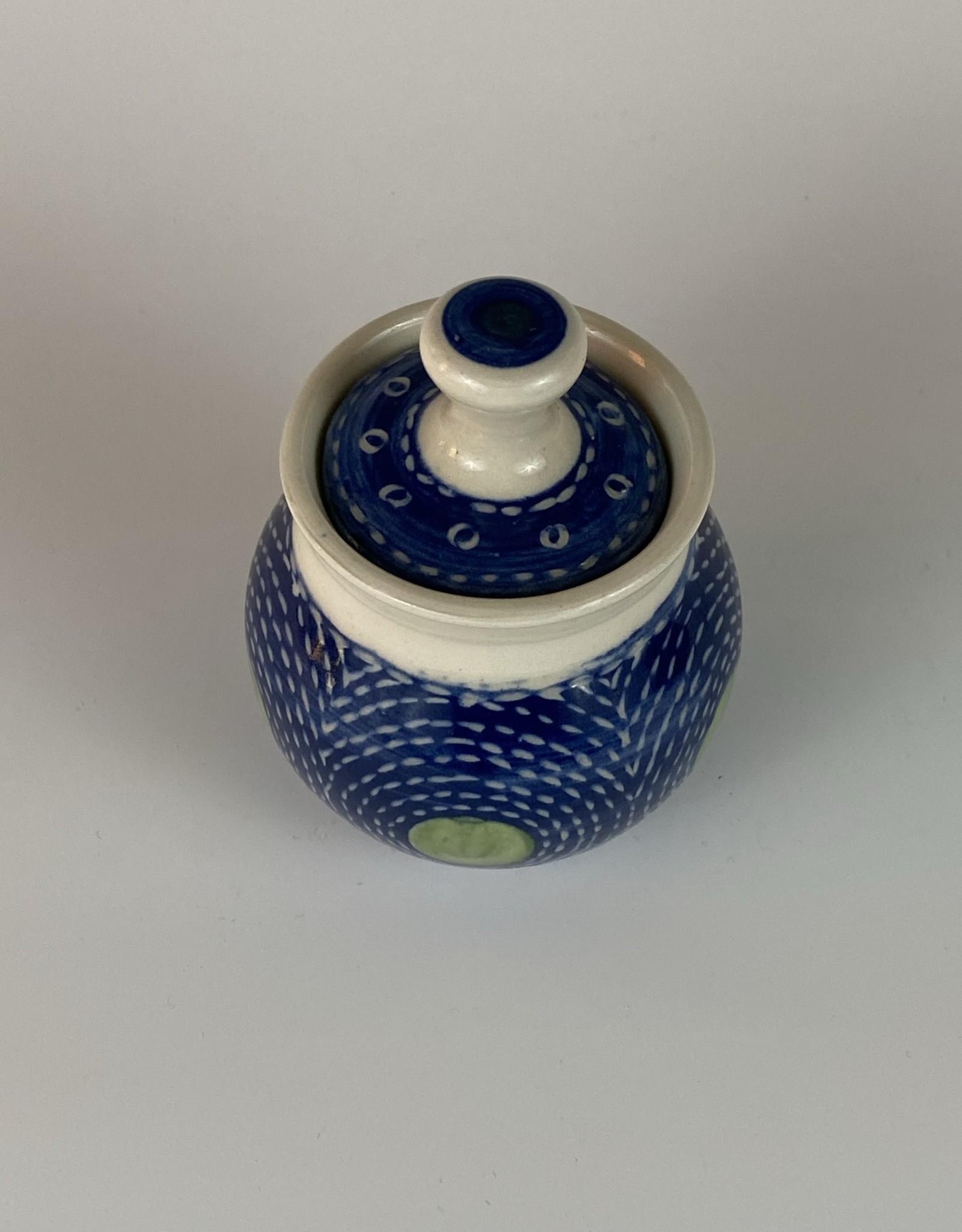 Anshula Tayal Amaati lidded jar blue Kantha