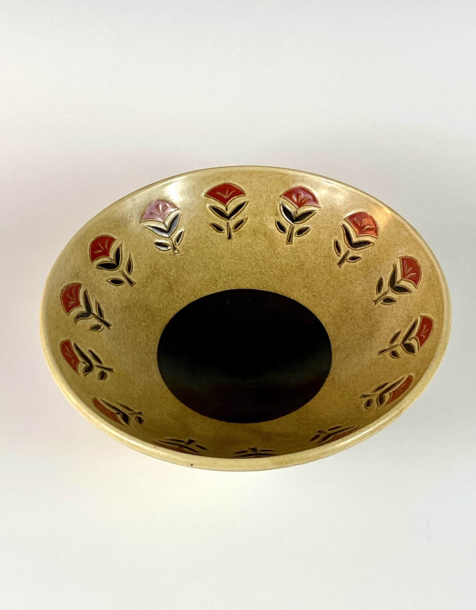 Anshula Tayal Amaati serving bowl red flower sanganeri