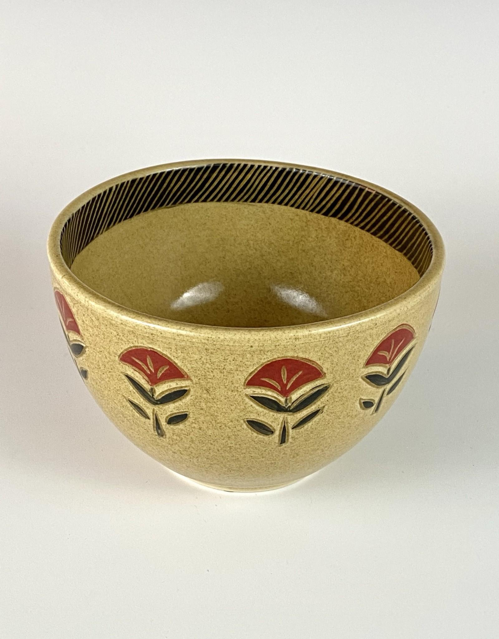 Ammati small serving bowl red flower sanganeri
