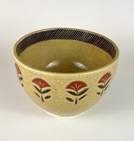Ammati small serving bowl red flower sanganeri