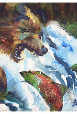 Jennifer Cook-Chrysos Chrysos Designs Artworks, Fine Art Giclee Print, Fishing Bear, 16 x 20