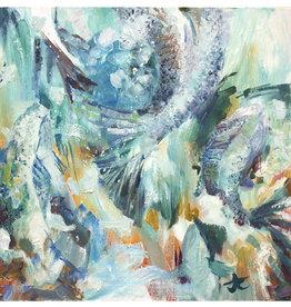 Jennifer Cook-Chrysos Chrysos Designs Artworks, Fine Art Giclee Print, Up the Waterfall, 16 x 16, matted