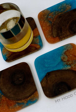 """Mt. Hood Craft - """"Clashing Tides""""- Wood and Resin Coasters (set of 4)"""