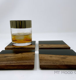 "Mt. Hood Craft - ""Smoke and Mirrors""- Wood and Resin Coasters (set of 4)"