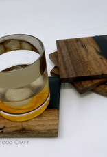 """Mt. Hood Craft - """"Smoke and Mirrors""""- Wood and Resin Coasters (set of 4)"""