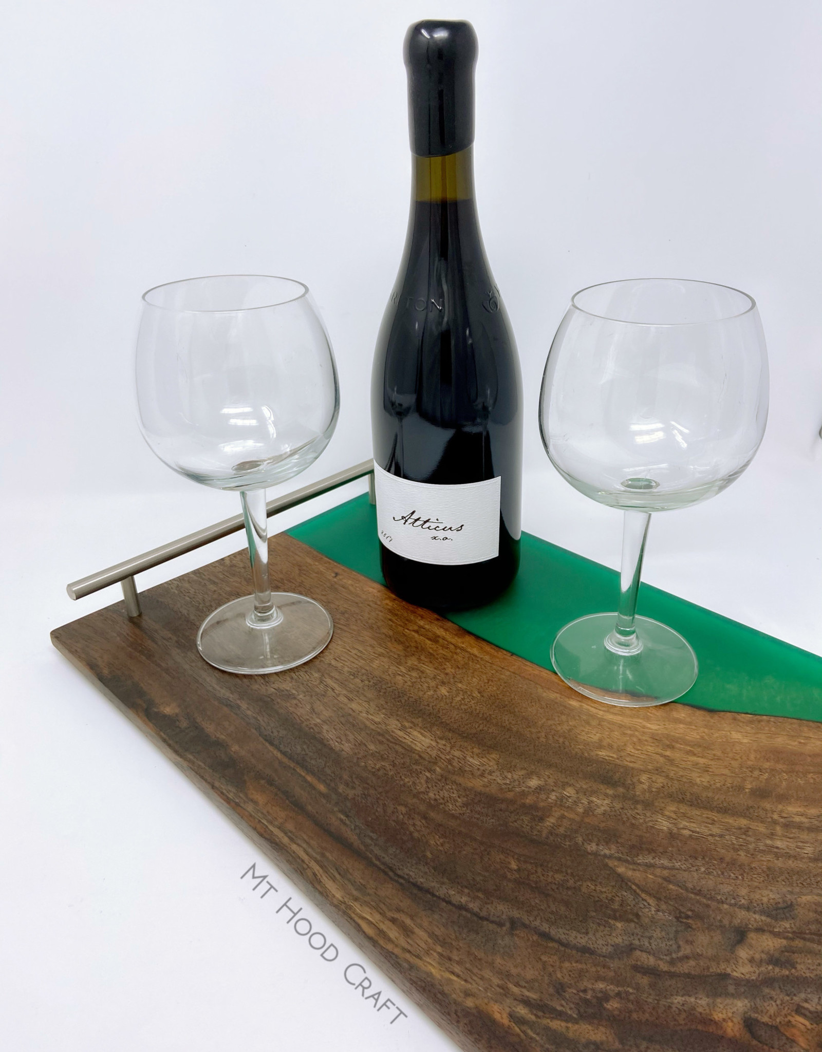 """Ron and Ellie Purvis Mt. Hood Craft - """"Emerald City"""" - Wood and Resin Serving Tray"""