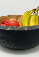 "Mt. Hood Craft - ""Gilded Coal"" - Hand Turned Charred Ash Wood Bowl"