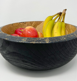 "Ron and Ellie Purvis Mt. Hood Craft - ""Gilded Coal"" - Hand Turned Charred Ash Wood Bowl"
