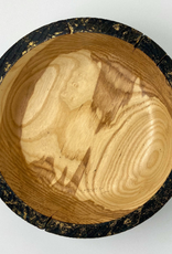 """Ron and Ellie Purvis Mt. Hood Craft - """"Gilded Coal"""" - Hand Turned Charred Ash Wood Bowl"""