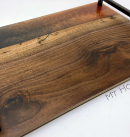 "Ron and Ellie Purvis Mt. Hood Craft - ""Navy Haze"" - Wood and Resin Serving Tray"
