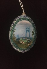 Ammi Brooks St. Johns Bridge Real Egg Ornament