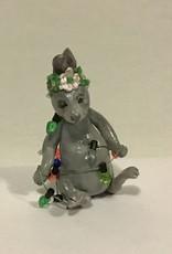 Karen Friedstrom Christmas-Fringe bunny ornament