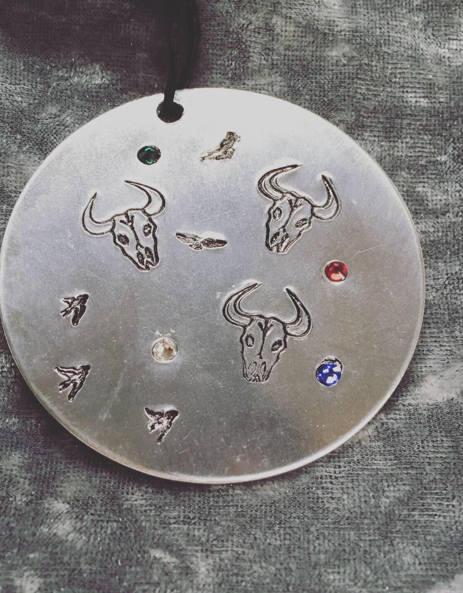 Susan Hunter Bodie/Skull Ornament Aluminum + Swarovski Crystals