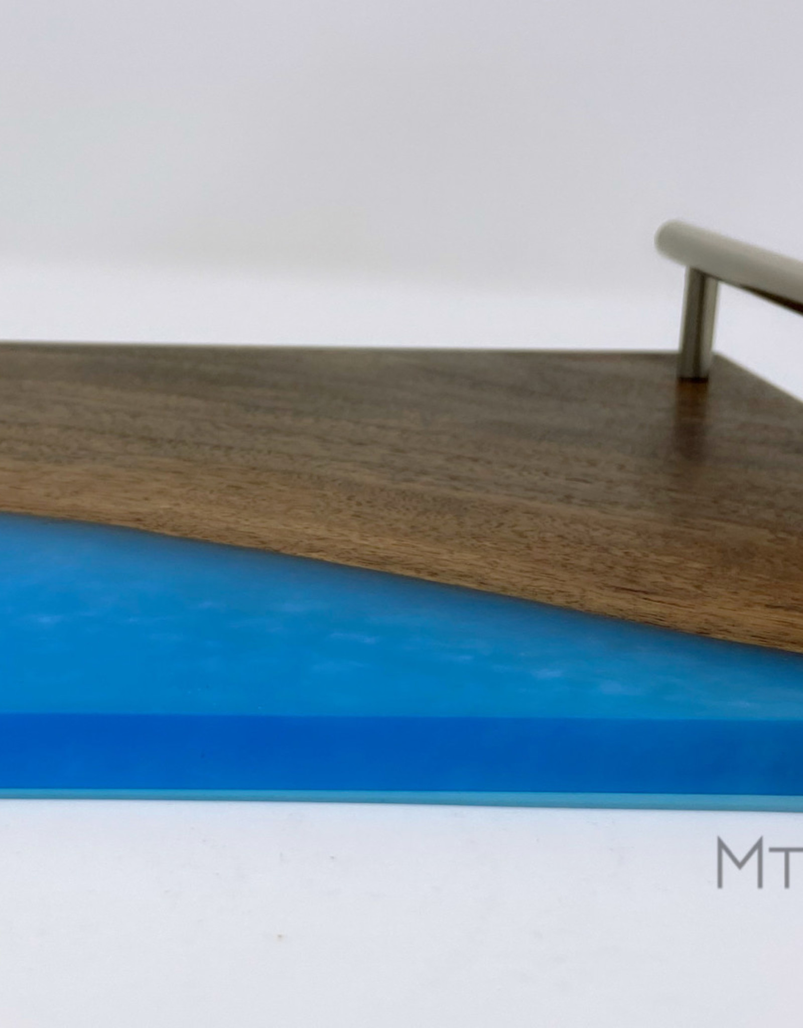 """Ron and Ellie Purvis Mt. Hood Craft - """"Blue Skies"""" Wood and Resin Serving Tray"""