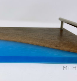 "Ron and Ellie Purvis Mt. Hood Craft - ""Blue Skies"" Wood and Resin Serving Tray"