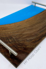 "Mt. Hood Craft - ""Blue Skies"" Wood and Resin Serving Tray"