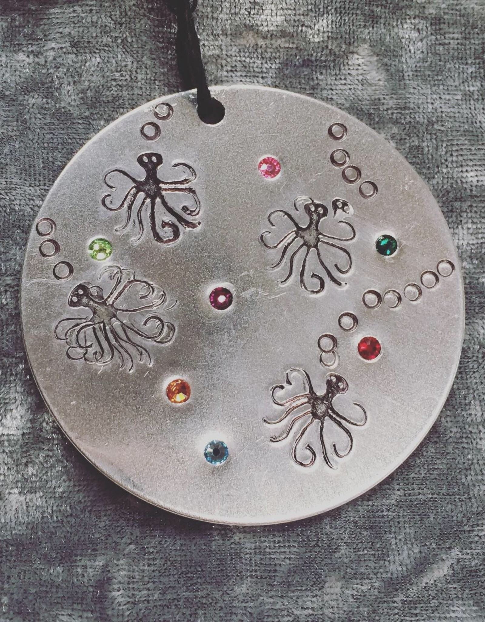 Susan Hunter Bodie/Holiday Ornament aluminum + Swarovski crystals