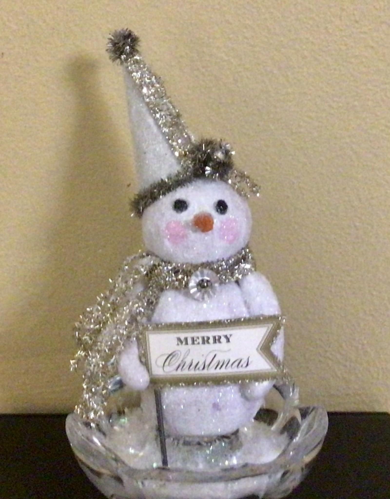 Karen Friedstrom Sparkle-snowman clay sculpture
