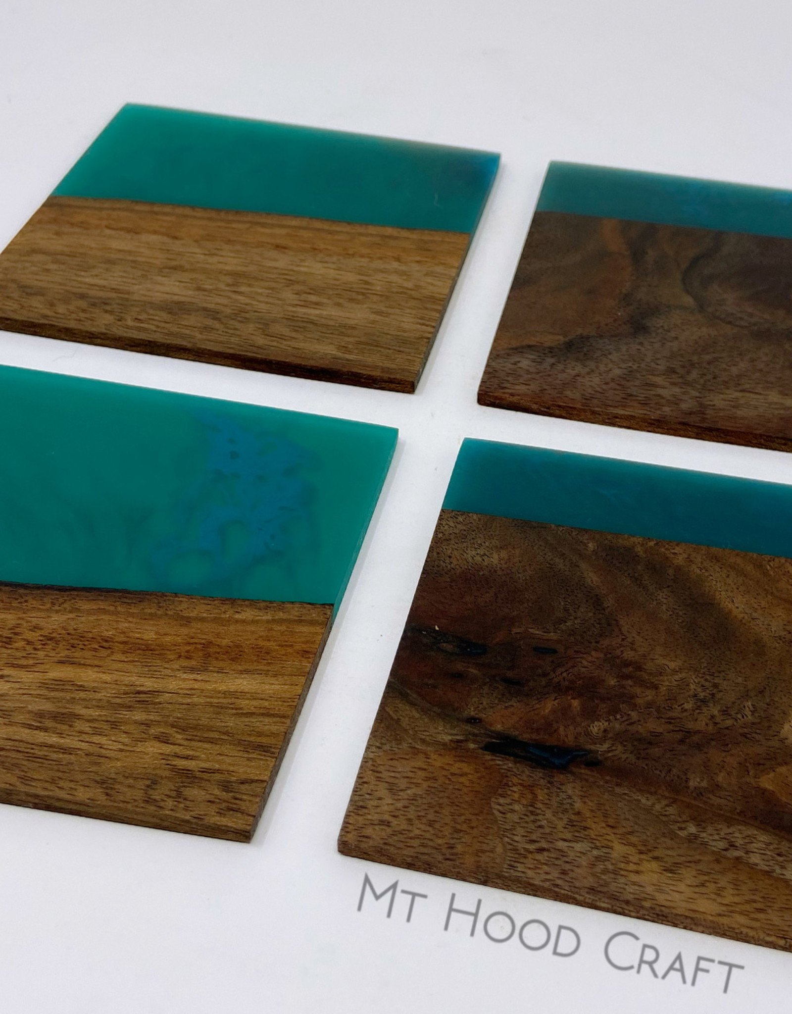 """Ron and Ellie Purvis Mt. Hood Craft - """"Lumiere""""- Wood and Resin Coasters (set of 4)"""